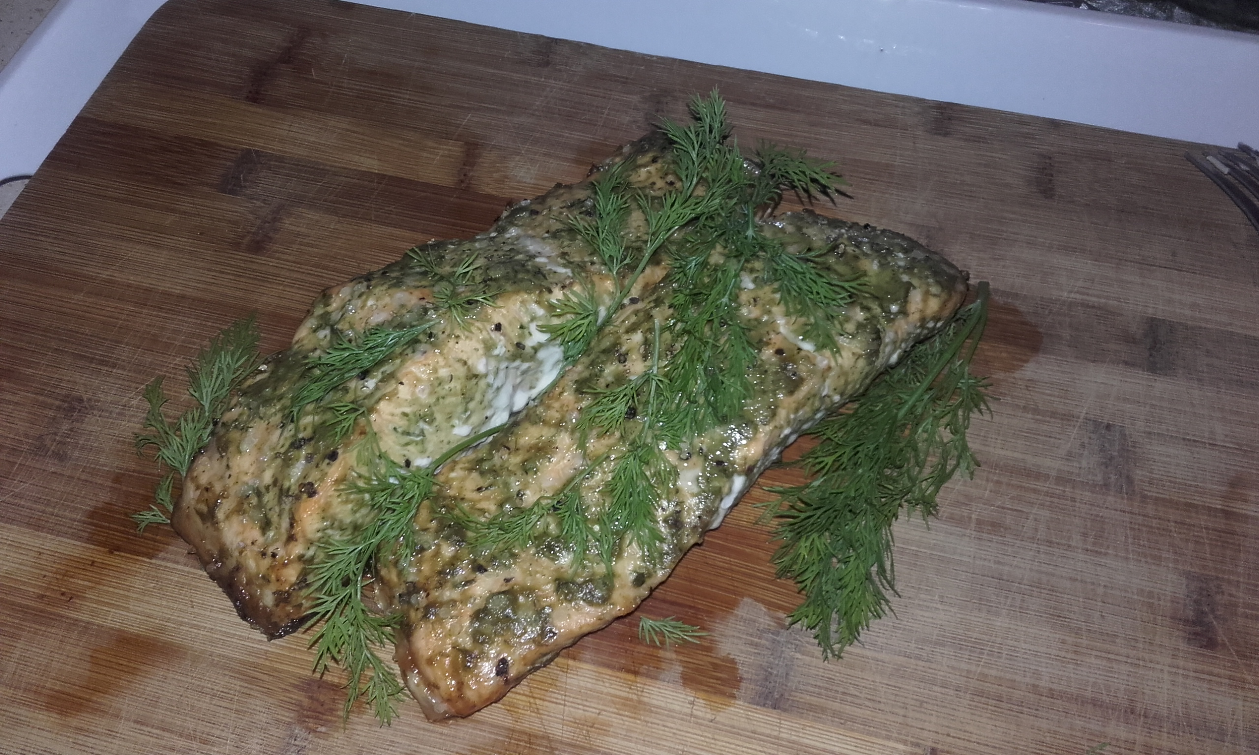 Grilled salmon recipe with dill mustard pesto glazing