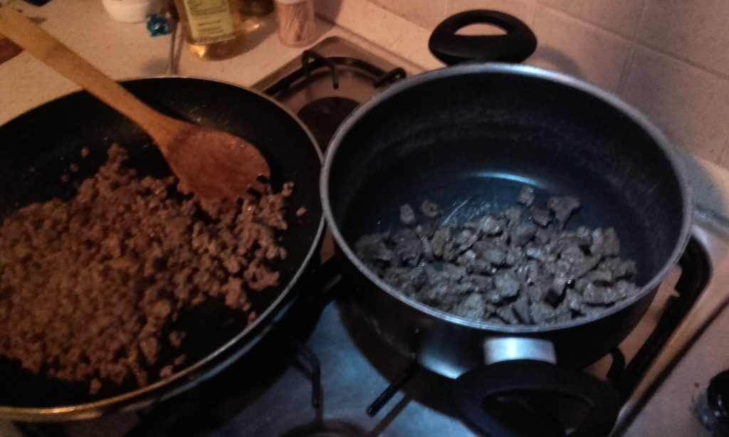 frying beef for chili