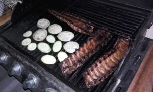 grilling ribs and vegetables