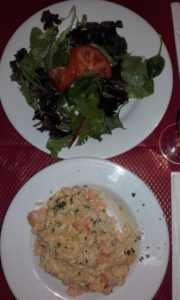 salmon risotto and side salad from pizzeria renato